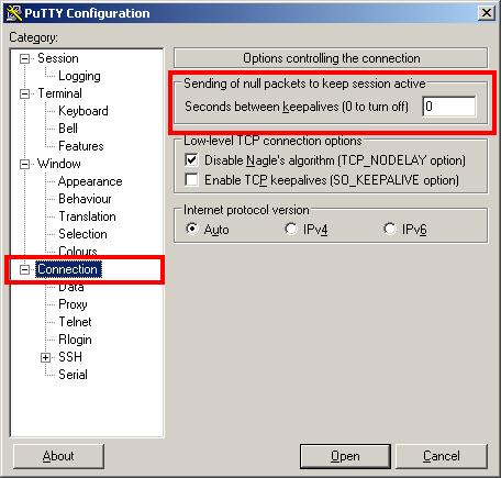 PuTTY sinnvoll Voreinstellungen machen / Default Settings